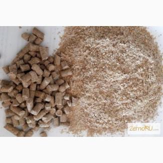 Отруби пшеничные пушистые и гранулированный в мешках и навалом
